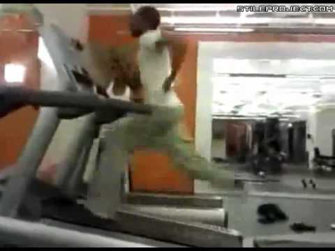 treadmill wipe out! epic fail