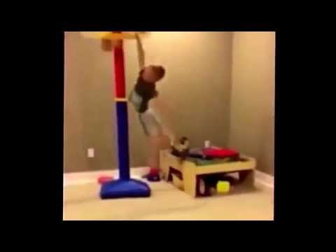 kid gets hit with basketball hoop dunk fail