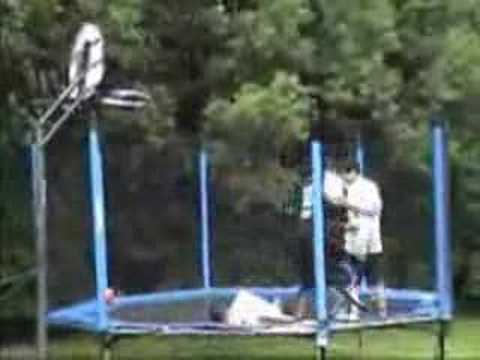 Basketball kid trampoline dunking... EPIC FAIL.